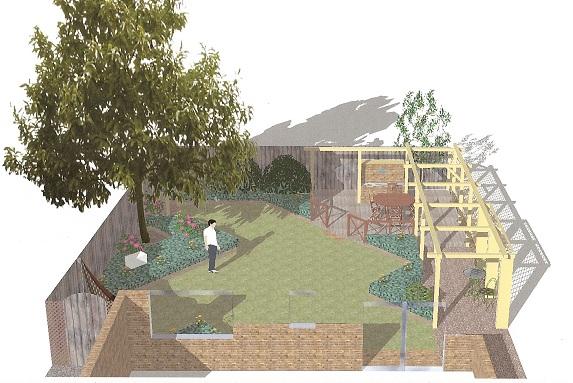 Blue bridge garden design for Rectangular garden designs